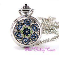 Miniature Silver Ethnic Mandala Pocket Half Hunter Steampunk Necklace Fob Watch