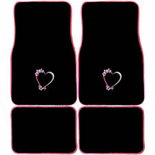 4pc Spring Love Hearts Front Rear Black Pink Carpet Floor Mat Set Car Truck Van