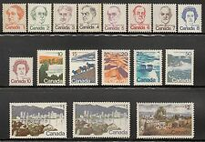 CANADA 1972-76 DEFINITIVE SET COMPLETE TO 2R VALUE SCOTT #586-601 MNH