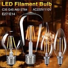 LED Retro Edison Filament Flame Candle Globe Light Lamp Bulb E27 E14 4/8/12/16W