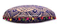 Indien 81.3cm Ottomane Ombre Mandala Imprimé Pom Lacet Décor Pouf Coussin Rond