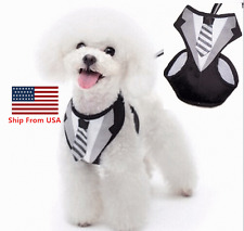 Pet Clothes Suit Tux Dog Cat Harness Leash Collar Safety Strap Vest w/ Tie L