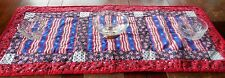 New handmade, quilted PATRIOTIC 4th of July table runner RED WHITE BLUE 40x18