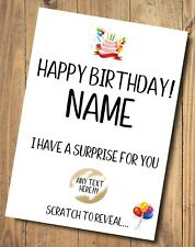 Scratch off birthday Surprise Card Personalised Your Text FAST Postage
