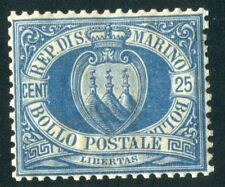 1894/9 San Marino 25 cent. azzurro nuovo centrato integro spl MNH  **