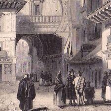 Gravure XIXe Grenade Viva Rambla Porte Moresque Granada Andalousie España 1848