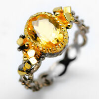 Vintage style Silver ring Natural  Citrine 925 Sterling Silver Ring / RVS07