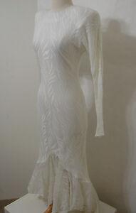 CLIMAX KAREN OKADA Vintage White Wedding Gown Asymmetrical Fishtail Mermaid 9/10