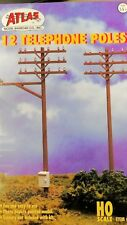 ATLAS Telephone Poles - 12 included - HO Scale - Model Trains - New #775