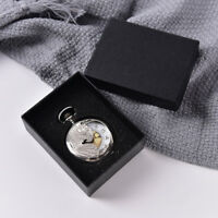 Black Display Case for Single Pocket Watch Jewel Chain Storage Gift Box HO