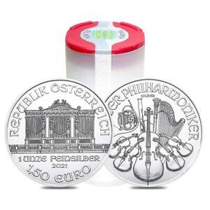 Roll of 20 - 2021 1 oz Austrian Silver Philharmonic Coin BU (Lot, Tube of 20)