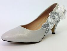 CHILDRENS GIRLS KIDS MID HEEL DIAMANTE PARTY SHOES BRIDESMAID SIZE 1 – 3 UK