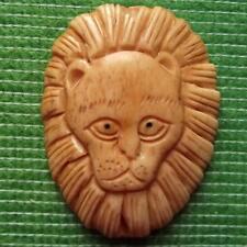 Japanese Detailed Hand Carved Scrimshaw Netsuke Bovine Bone Lion Mane Head B