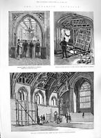 Original Old Antique Print 1885 Dynamite Westminster House Commons Tower London