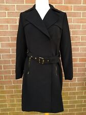 H&M Womens Belted Jacket Coat Belted Black Size 12 New