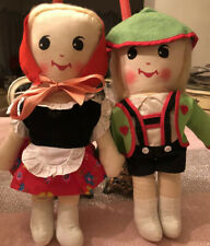 Vintage Knickerbocker Hansel And Gretel Rag Dolls-14 Inch