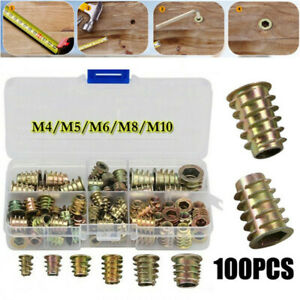 100pcs Hex Drive Wood Screw Inserts Nuts Set M4 M5 M6 M8 M10 Assortment Thread