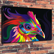 "Arte Pop Abstracto Gallito Animal Printed Cuadro Lienzo A1.30""x20"" 30 mm de profundidad"