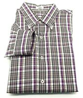 Peter Millar Men's Cotton Button Up Collared Purple Plaid Shirt Size Large