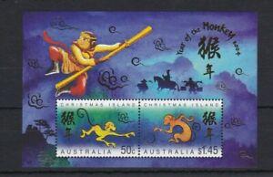 CI126) Christmas Island 2004 Year of the Monkey Minisheet MUH