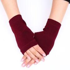 Cashmere Wool Fingerless Gloves Half Finger Arm Warmer Black Stretchy Wrist Long