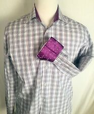English Laundry Mens Purple Plaid Paisley Contrast Cuff Shirt 16-34/35