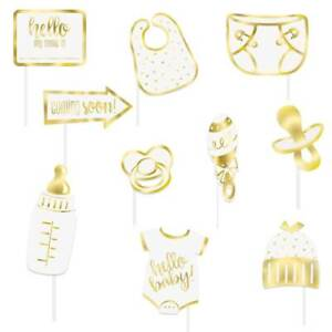 Hello Baby Photo Props Baby Shower Gold Foil Photo Props Pack of 10