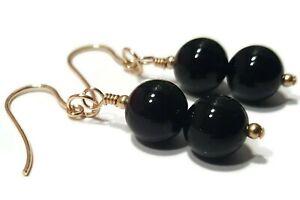 9ct Gold Black Onyx Drop Earrings with 8mm Gemstone Beads, Dangle Earrings Women