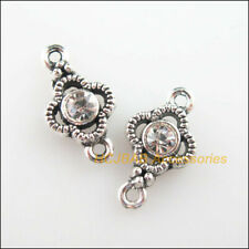 25Pcs Tibetan Silver Clear Crystal Clover Flower Charms Connector Pendant 8x15mm
