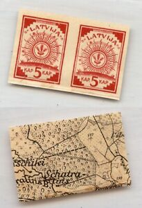 Latvia 🇱🇻 1918 SC 1 MNH pair map. rtb6670