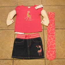 NWT Gymboree Lovable Giraffe Pink LS Top Denim Skirt Nylon Tights Lot 3 2T 3T