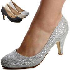 Mujer Brillo Zapatos de Tacón Fiesta Boda Plataforma Tacones