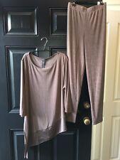 2-pc SET Chico's Travelers Renwick Taupe Asymmetrical Top & Pants 3 Short XL NWT