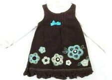 Nannette Girls Brown Corduroy Sleeveless Dress Top with LS Ivory Turtle Neck 4t