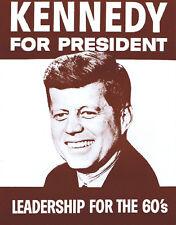 John F. Kennedy Poster Print - 1960 - JFK For President Reproduction