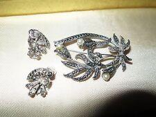Beautiful 1950s Silvertone Marcasite fx pearl  brooch and earrings set