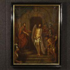 Antico quadro religioso dipinto olio su tela passione di Cristo arte sacra 700
