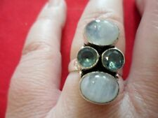 Artisan Crafted Rainbow Moonstone & Blue Topaz Ring in 925 Sterling-Size 7