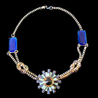 Statement Necklace Collier Medallion,blue,green and brown Stones,gold coloured