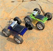 Assembly Mini Solar Car Hand-made Blue Toy Powered DIY Car Kit Children Gift