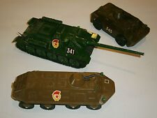 LOT 3 USSR Military Machine TANK BTR 60 Russian Soviet Toys Red star Propaganda