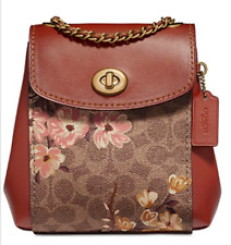 🌺🌹 Coach Mini Parker Prairie Signature Convertible  Backpack Tan-Rust-Gold