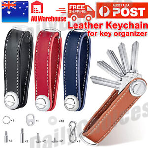 Men Leather Smart Key Holder Organizer Clip Compact Folder Keychain Black AU