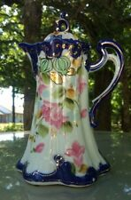 Vtg Hand Painted Nippon Japanese Coffee CHOCOLATE POT Cobalt, Gold Trim, Floral