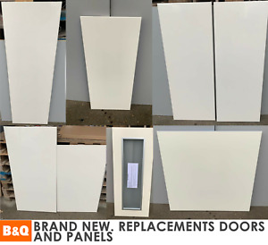 B&Q Cream Gloss Slab Kitchen Replacement Doors Clad-on Panels End of Line NEW