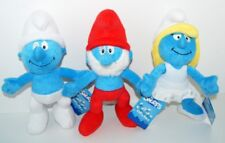 3 X THE SMURFS - SMURFETTE / PAPA SMURF/ SMURF 25cm Plush Toy BNWT