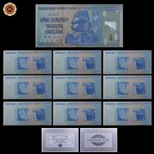 WR 10 × Zimbabwe Banknote Colored Silver Z $ 100 billones Set con certificado