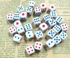 Lot of 10 Standard Plastic White 12mm Game Dice Die Casino Bar