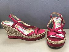 Guess By Marciano Skingback Wedge Heels Straw Strappy Floral print Size 8.5 M