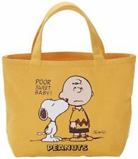 Peanuts Snoopy Small Tote Bag Yellow Ships from Japan